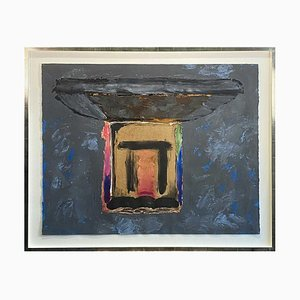 Old Place, Large Contemporary Mixed-Media Abstract Painting