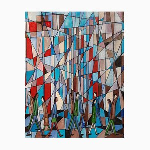 City of Glass, Contemporary Abstract Oil Painting, 2019
