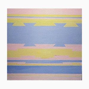 Pintura al óleo abstracta contemporáneo en azul y rosa sin título, 2020