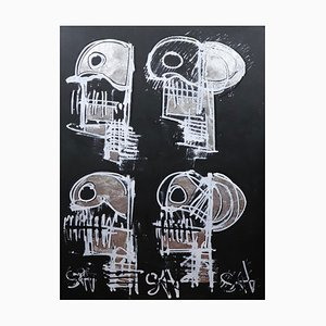 Teschi neri, pittura neoespressionista contemporanea, 2021