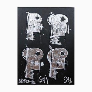 Silberne Totenköpfe, Zeitgenössisches Neo-Expressionistisches Gemälde, 2021