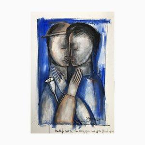 A Red and Blue Love, Contemporary Figuratives Ölgemälde, 2006