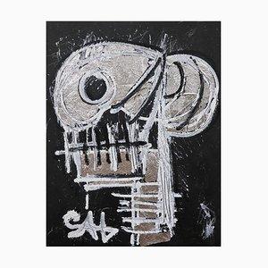 Silberner Totenkopf, Zeitgenössisches Neo-Expressionistisches Gemälde, 2021