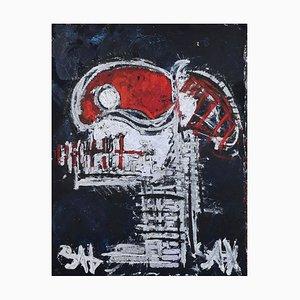 Teschio rosso, pittura neoespressionista contemporanea, 2021