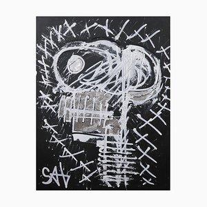 Teschio nero, pittura neoespressionista contemporanea, 2021