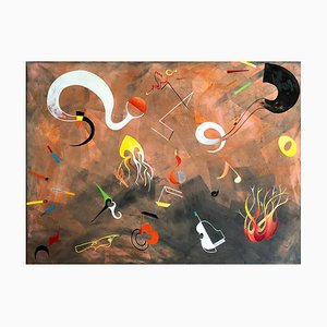 Musik und Feuer, Contemporary Abstract Mixed Media Painting, 2019