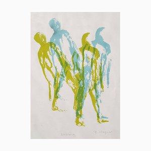 Ambling, Contemporary Silk Screen Figurative Print, 2017