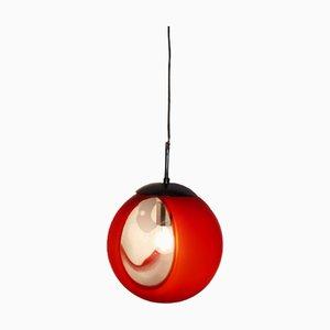 Lampada a sospensione sferica vintage Space Age rossa