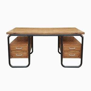 Massiver Schreibtisch aus Eiche & Stahlrohr mit 4 Schubladen, 1950er
