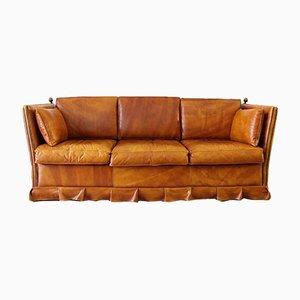 Canapé 3 Places Vintage en Cuir avec Détails en Pin Plaqué de Laiton