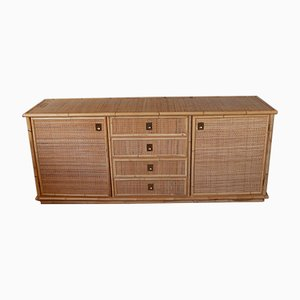 Vintage Raffia Bamboo and Brass Sideboard from Dal Vera