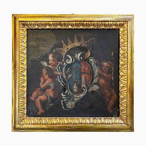 Italienisches Fragment der Engel mit edlem Wappen, 17. Jahrhundert