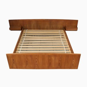 Mid-Century Danish Teak Floating Double Bed, 1960s