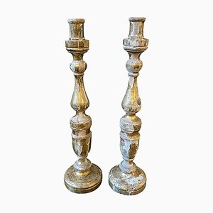 Antique Sicilian Giltwood Candlesticks, Set of 2, 1850s