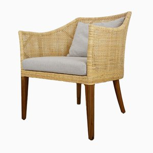 Handcrafted Braided Rattan & Wooden Armchair