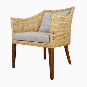 Handgefertigter Armlehnstuhl aus geflochtenem Rattan & Holz