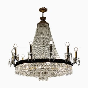 Mid-Century Italian Empire Style Crystal & Gilt Bronze Chandelier