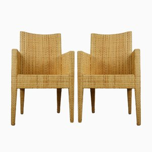 Vintage Wood and Rattan Armchair