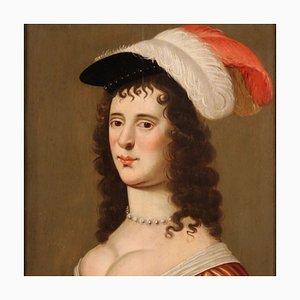 Retrato de una dama antigua, óleo sobre tablero, siglo XVIII