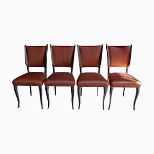 Chaises avec Tissu de Rubelli, 1950s, Set de 4