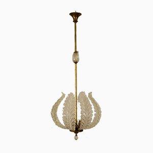 Art Deco 3-Leuchten Hängelampe aus Muranoglas von Ercole Barovier für Barovier & Toso, 1930er