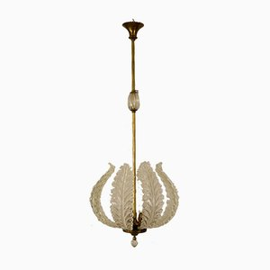 Art Deco Murano Glass 3-Light Pendant Lamp by Ercole Barovier for Barovier & Toso, 1930s
