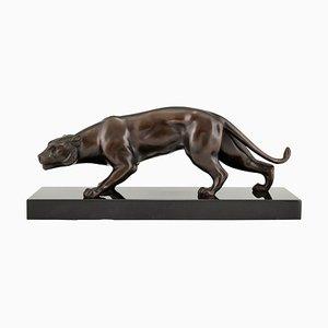 Escultura de pantera francesa Art Déco de bronce de J. Brault, años 30
