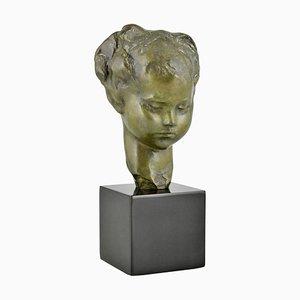 Busto de una chica francés Art Déco de bronce de Amadeo Gennarelli, años 20