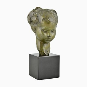 French Art Deco Bronze Bust of a Girl by Amadeo Gennarelli, 1920s