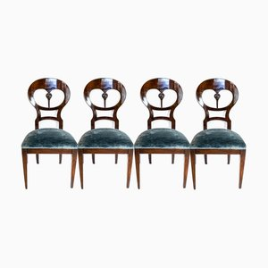 Viennese Biedermeier Mahogany Balloon Chairs, 1840s, Set of 4
