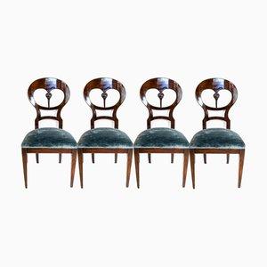 Wiener Biedermeier Ballon Stühle aus Mahagoni, 1840er, 4er Set