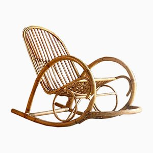 Dutch Bamboo & Rattan Rocking Chair by Rohé Noordwolde, 1950s