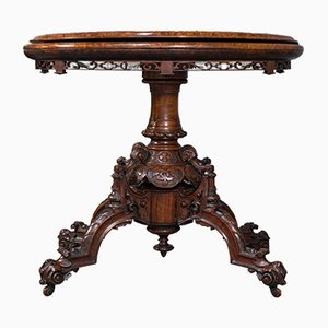 Table pour Jeux de Cartes Victorienne Antique Pliante avec Incrustations, Angleterre