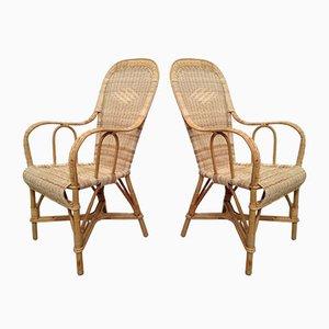 Gewebter Armlehnstuhl aus Rattan