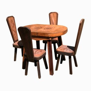 Brutalist Oak and Leather Table and 4 Chairs, 1960s, Set of 5