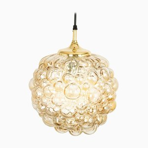 Large German Amber Bubble Glass Pendant Lamp by Helena Tynell for Limburg, 1970s