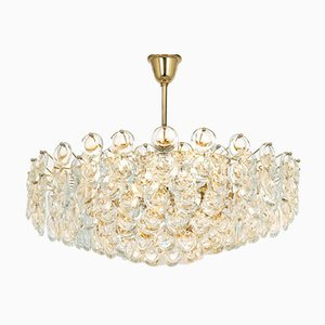 Huge German Gilt Brass & Crystal Glass Chandelier by Sciolari for Palwa, 1970s