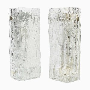 German Murano Ice Glass Vanity Sconces by Kaiser, 1970s, Set of 2