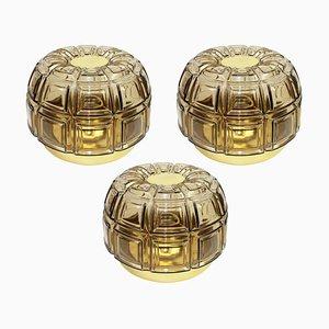 Applique o faretti ad incasso in ottone e vetro ambrato di Limburg, Germania, anni '60, set di 2