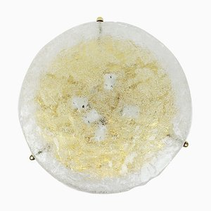 Large German Round Ice Glass Flush Mount by Hillebrand for Hillebrand Lighting, 1970s