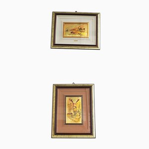 Italian Framed Gold Leaf Pictures by R. Pighetti, 1970s, Set of 2