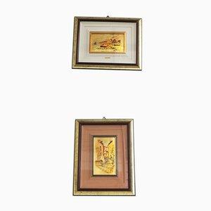 Photographies de Feuille d'Or Encadrées par R. Pighetti, Italie, 1970s, Set de 2