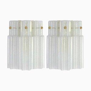 Deutsche Milchglas Wandlampen von Limburg, 1960er, 2er Set
