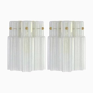 German Frosted Glass Wall Lights from Limburg, 1960s, Set of 2