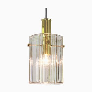 Large German Lantern Pendant Lamp with Cylindrical Glass Shade from Limburg, 1960s
