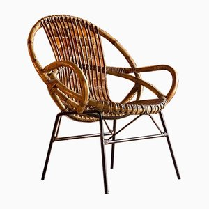 Dutch Rattan Armchair by Dirk van Sliedregt for Gebroeders Jonkers, 1950s