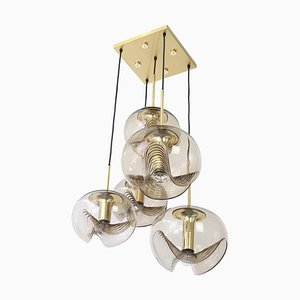 Large German Smoked Glass Cascading Chandelier by Koch & Lowy for Peill & Putzler, 1970s