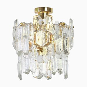 Austrian Gilt Brass & Crystal Glass Palazzo Light Fixture from Kalmar, 1970s