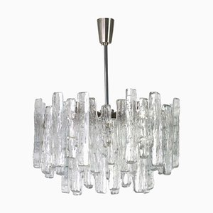 Großer österreichischer Murano Eisglas Kronleuchter von Kalmar, 1960er