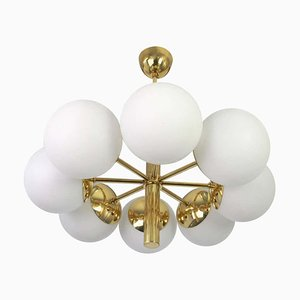 Large German Sputnik Chandelier with Opal Glass Globes from Kaiser, 1970s